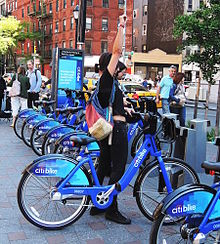 Citibike rental location. Photo courtesy of Wikipedia and Jim.henderson